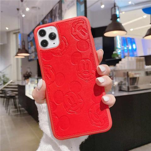 Чехол Mickey Mouse Leather для iPhone 11 Pro Max - Red
