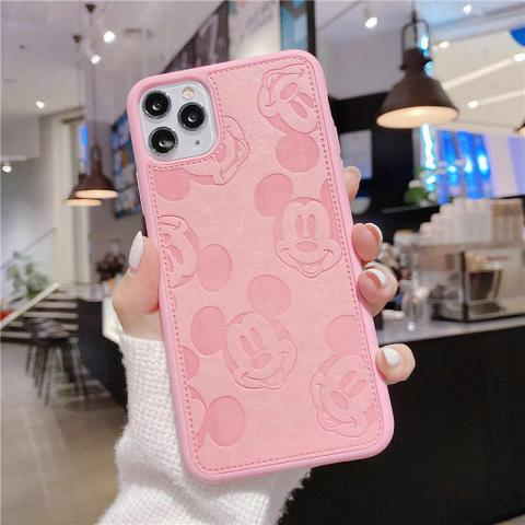 Чехол Mickey Mouse Leather для iPhone 11 Pro Max - Pink