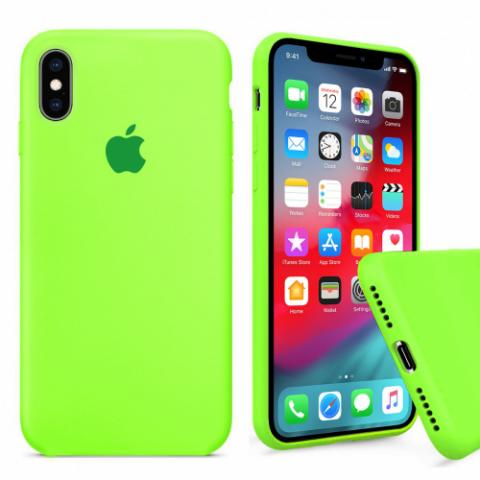 Чехол Full Silicone case для iPhone X/XS - Party green