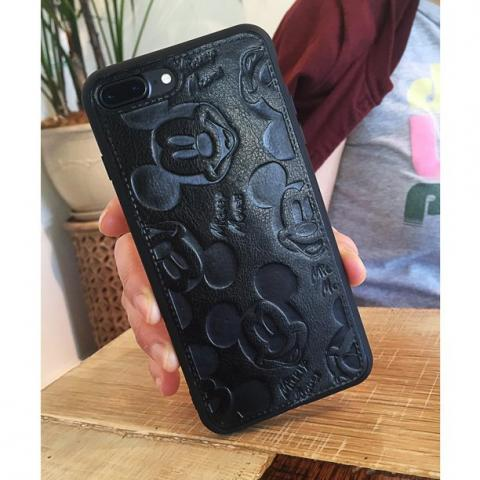 Чехол Mickey Mouse Leather для iPhone 7 Plus/8 Plus - Black