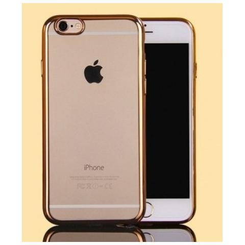 Силиконовый прозрачный чехол с окантовкой для iPhone 7 Plus - Gold