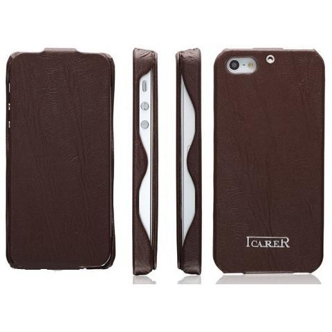 Кожаный чехол iCarer Tree Texture Series для iPhone 5/5s - коричневый