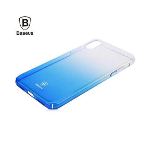 Baseus Glaze Case Transparent Blue for iPhone X
