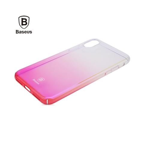 Baseus Glaze Case Transparent Pink for iPhone X