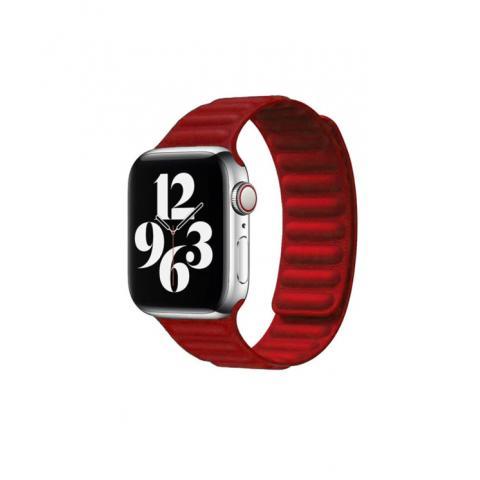 Кожаный ремешок Leather Link для Apple Watch 42/44 mm - Red