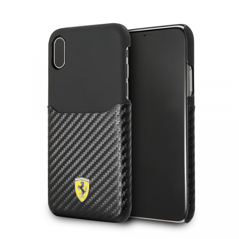 Чехол CG Mobile On Track Collection iPhone X Ferrari PU Leather with PU Carbon Fiber Card Slot