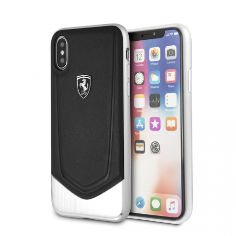 Чехол Ferrari Heritage Collection with Aluminium Heritage для iPhone X Black