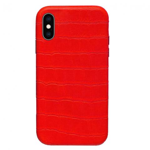 Чехол Crocodile Full Leather Case для iPhone XS Max - Red