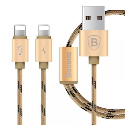 Кабель Lightning для Apple iPhone/iPad/iPod - Baseus Portman 2-в-1, 1.2м, золотистый