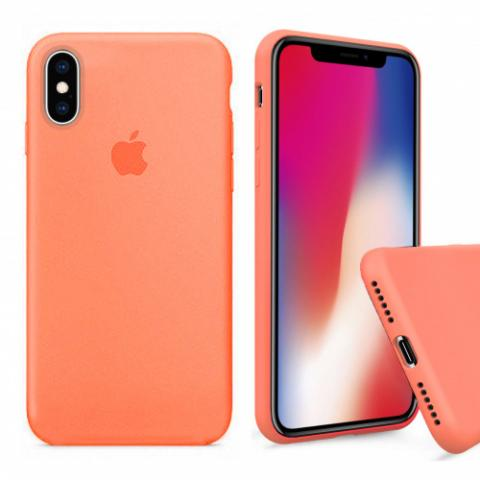 Чехол Full Silicone case для iPhone X/XS - papaya