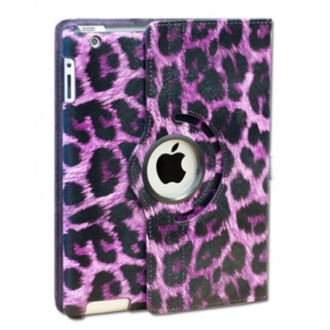Чехол 360° Rotating Stand/Case для iPad 4/ iPad 3/ iPad 2 - фиолетовый леопард