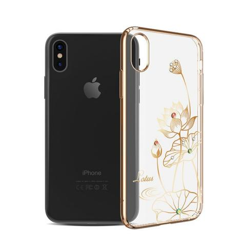 Чехол Kingxbar для iPhone X Swarovski Elegant Series-Lotus Gold