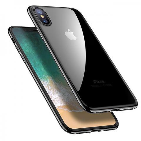 Силиконовый прозрачный чехол с окантовкой для iPhone X - Black