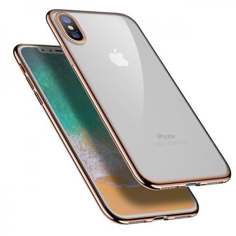 Силиконовый прозрачный чехол с окантовкой для iPhone X - Gold
