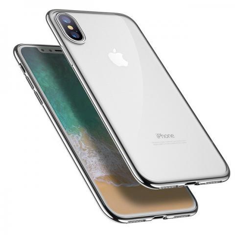 Силиконовый прозрачный чехол с окантовкой для iPhone X - Silver