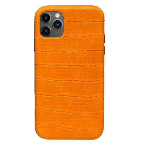 Чехол Crocodile Full Leather Case для iPhone 11 Pro Orange