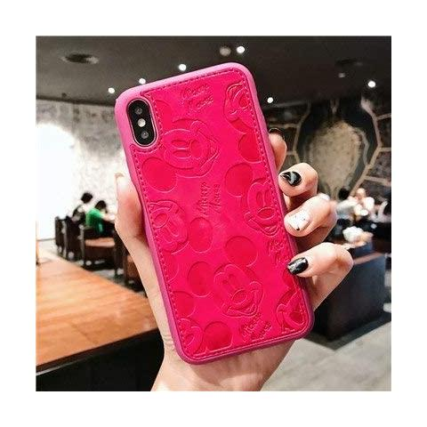 Чехол Mickey Mouse Leather для iPhone XS Max - Hot Pink