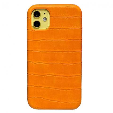 Чехол Crocodile Full Leather Case для iPhone 11 Orange