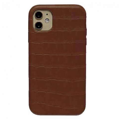 Чехол Crocodile Full Leather Case для iPhone 11 Brown