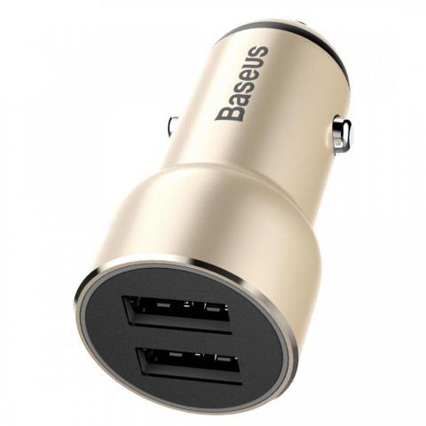 Автомобильное зарядное устройство Baseus Small Giant 2 USB , 3.4 Amp, золотистое