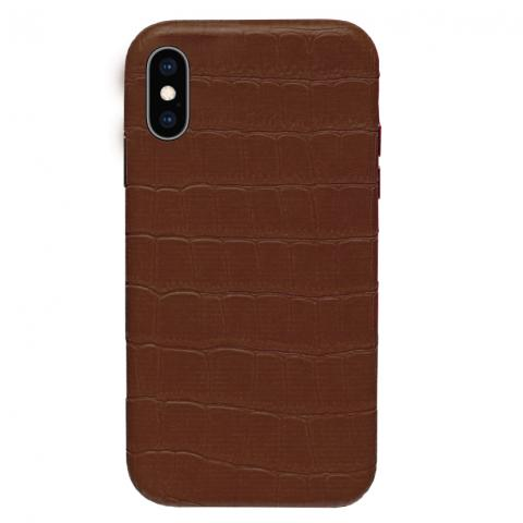Чехол Crocodile Full Leather Case для iPhone XS Max - Brown