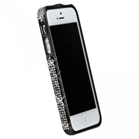 Бампер металлический для iPhone 5 со стразами черный