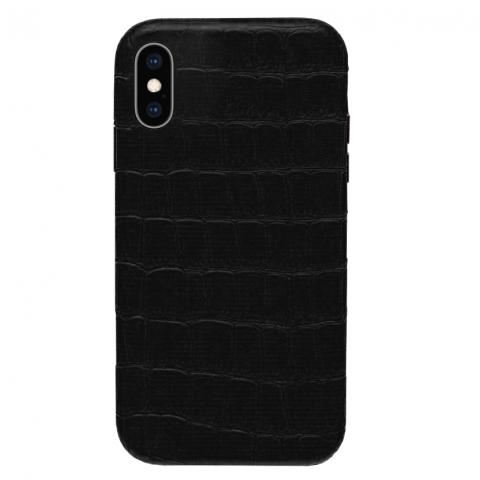 Чехол Crocodile Full Leather Case для iPhone XS Max - Black