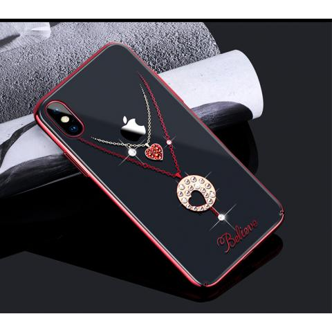 Чехол-накладка Kingxbar Swarovski Cupid Series Hearts для iPhone X Red