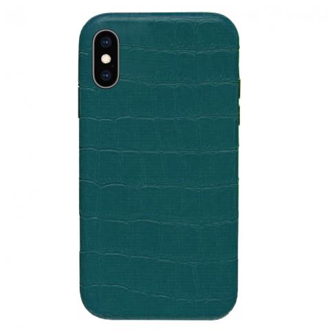 Чехол Crocodile Full Leather Case для iPhone X/XS - Forest Green