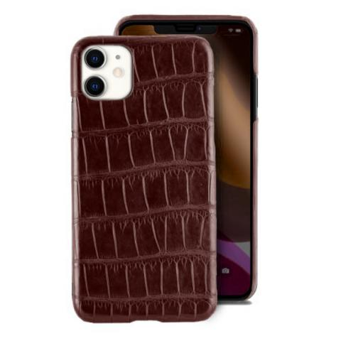 Чехол Crocodile Premium Leather Case для iPhone 11 Burgundy red