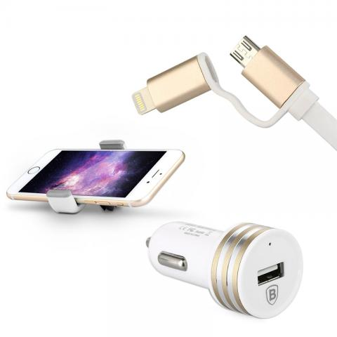 Комплект авто зарядка + держатель + Lightning/Micro-USB кабель Baseus белый