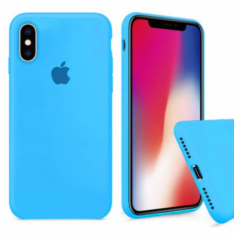 Чехол Full Silicone case для iPhone X/XS - blue