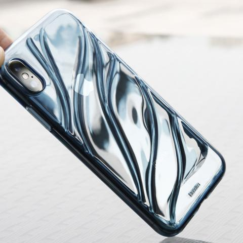 Чехол Baseus Water Modelling Case For iPhone X Transparent Blue (WIAPIPHX-SH03)