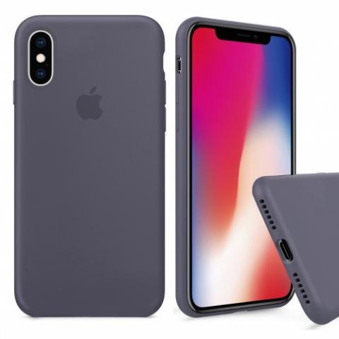 Чехол Full Silicone case для iPhone X/XS - Lavander Grey