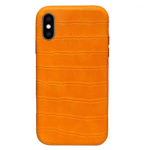 Чехол Crocodile Full Leather Case для iPhone XS Max - Orange