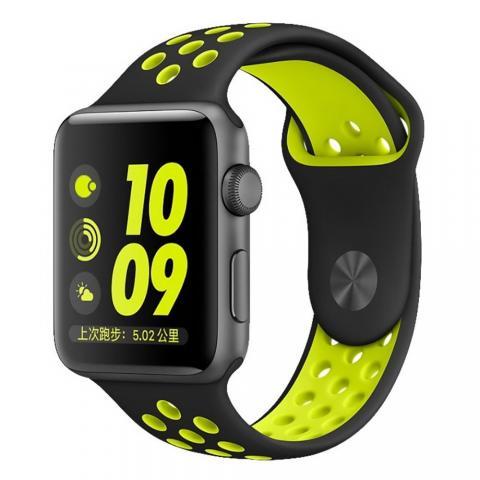 Ремешок Coteetci W12 Nike чёрный + желтый для Apple Watch 38/40mm