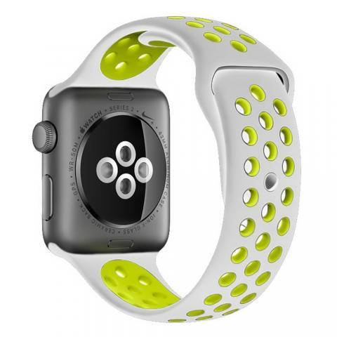 Ремешок Coteetci W12 Nike серый + желтый для Apple Watch 42/44mm