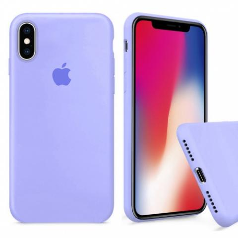 Чехол Full Silicone case для iPhone XS Max - Glycine (Фиалка)