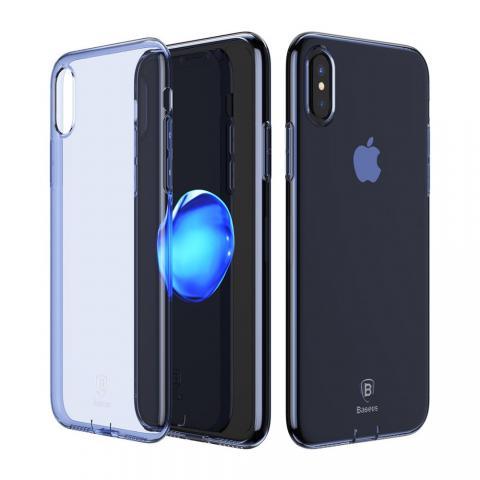 Полупрозрачный чехол Baseus Simple синий для iPhone X