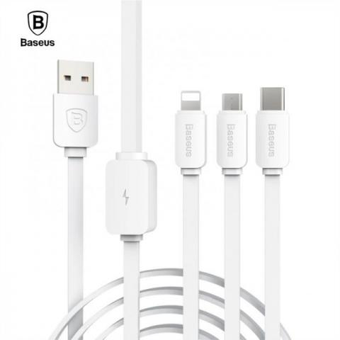 Baseus String Series Micro USB+Lightn-ing+Type-C Cable 3 in 1 Cable Universal Charging Date Cable For Smart cell phone Table PC