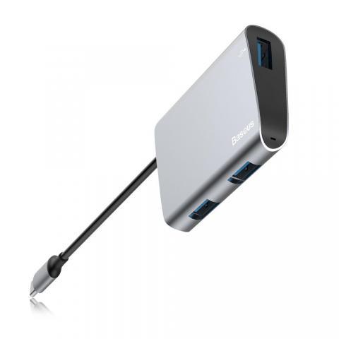 Переходник Baseus Enjoyment с Type-C на 2xUSB 2.0+USB 3.0 HUB серый
