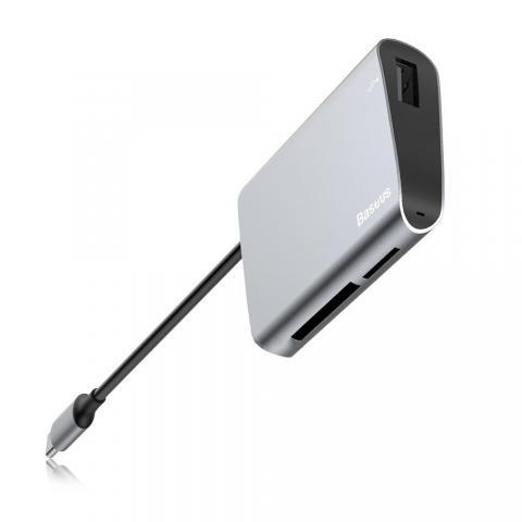 Переходник Baseus Enjoyment с Type-C на SD+TF Card+USB2.0 HUB серый