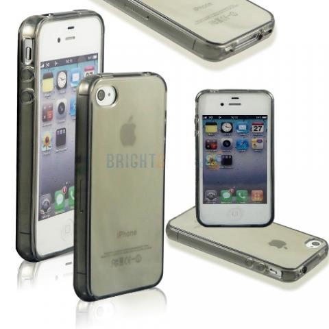 Силиконовый прозрачный чехол для iPhone 4/4s - серый