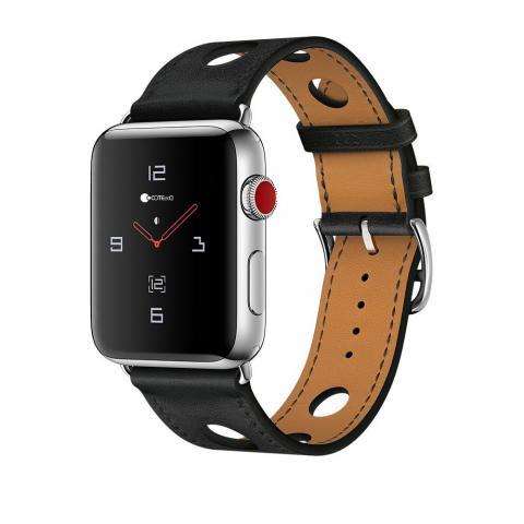 Кожаный ремешок COTEetCI W15 черный для Apple Watch 38/40mm