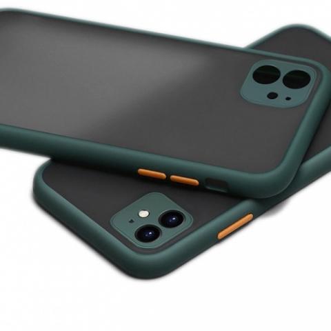 Противоударный чехол HULK с защитой для камеры для iPhone 11 - Forest Green/Orange