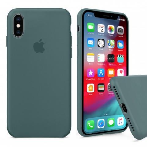 Чехол Full Silicone case для iPhone X/XS - Pine Green