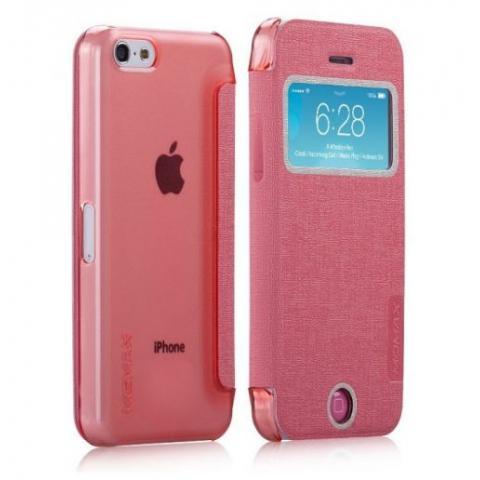 Чехол -книга Momax Flip View для iPhone 5c – pink