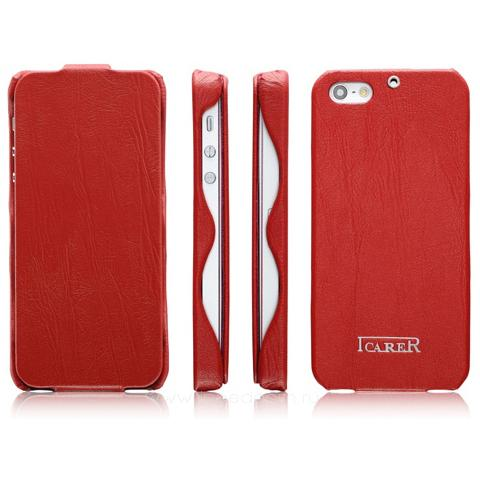 Кожаный чехол iCarer Tree Texture Series для iPhone 5/5s - красный