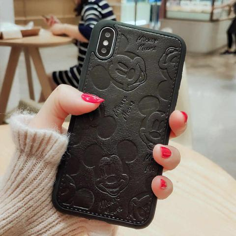 Чехол Mickey Mouse Leather для iPhone XS Max - Black