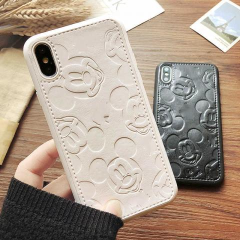 Чехол Mickey Mouse Leather для iPhone XR - White
